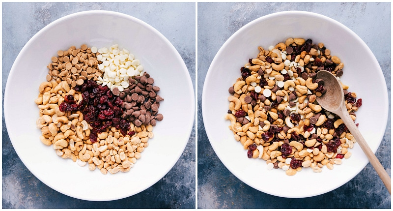 Overhead shot of the ingredients for Indulgent Trail Mix.