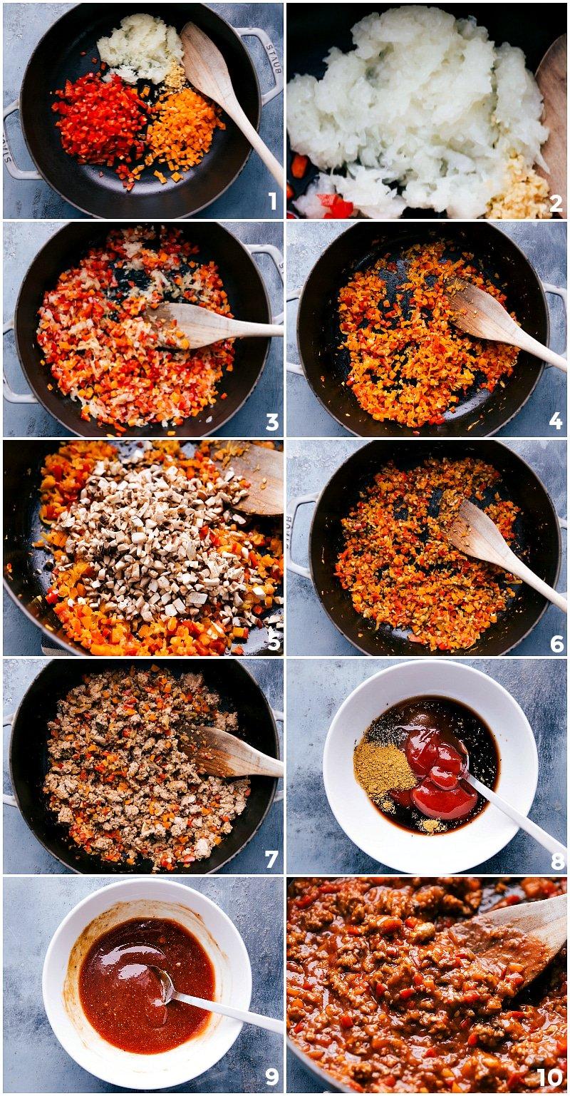 Process shots: steps in cooking Turkey Sloppy Joes.