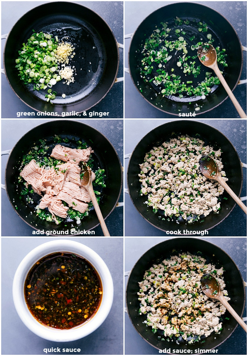 Process shots of browning the aromatics, cooking the ground chicken, and adding the sauce to Chicken Larb.