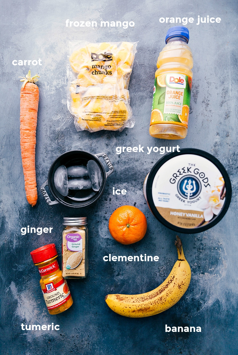 Overhead view of the various ingredients for Immune-Boosting Smoothies.