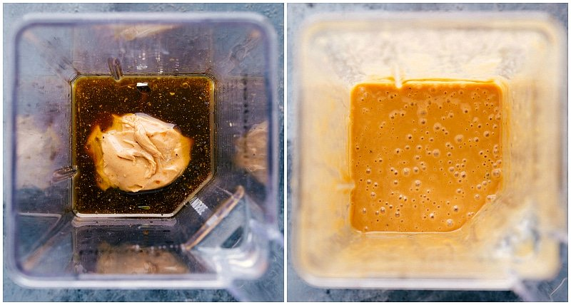 Overhead views of sauce ingredients being added to a blender and mixed together