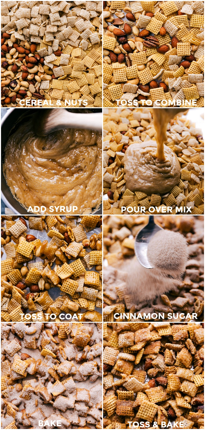 Process shots-- images of the ingredients being added in a bowl and the syrup being poured over it and and everything being mixed together and cinnamon sugar being sprinkled on top and everything being toss and baked