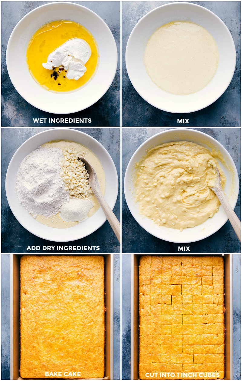 Process shots: wet ingredients in a bowl; mixed; adding dry ingredients and mixing; baked cake in the pan; cake cut into cubes.