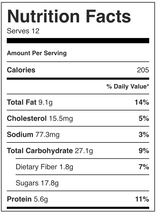 Nutrition facts in oatmeal bars