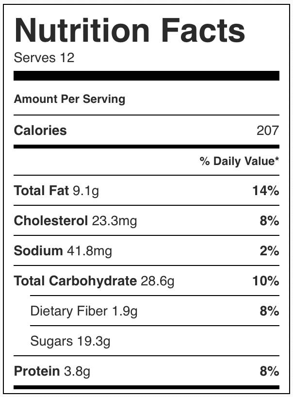 Nutrition facts in blueberry oatmeal squares