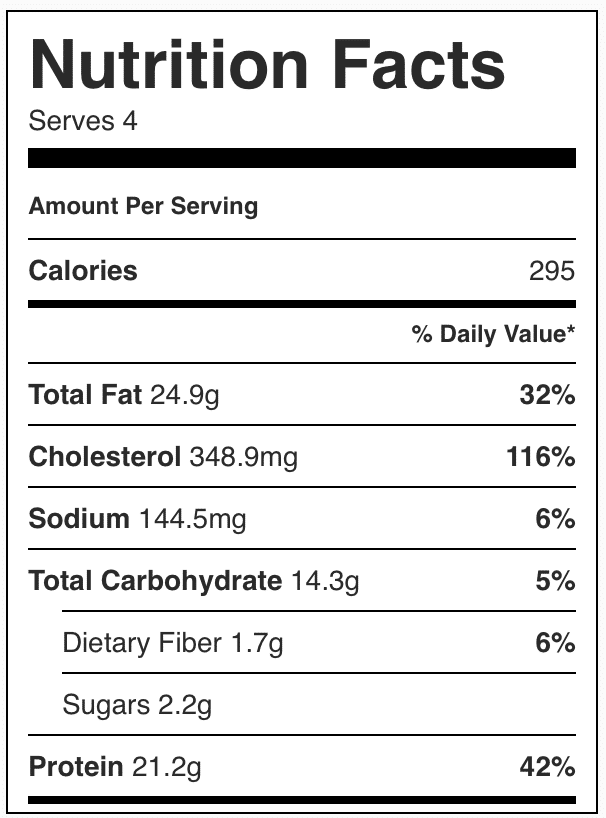 Nutrition facts in an egg skillet