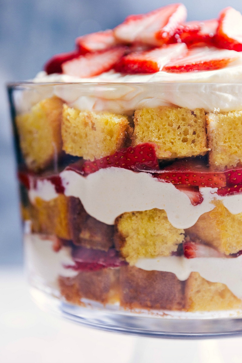 Closeup view of the finished Strawberry Shortcake Trifle.