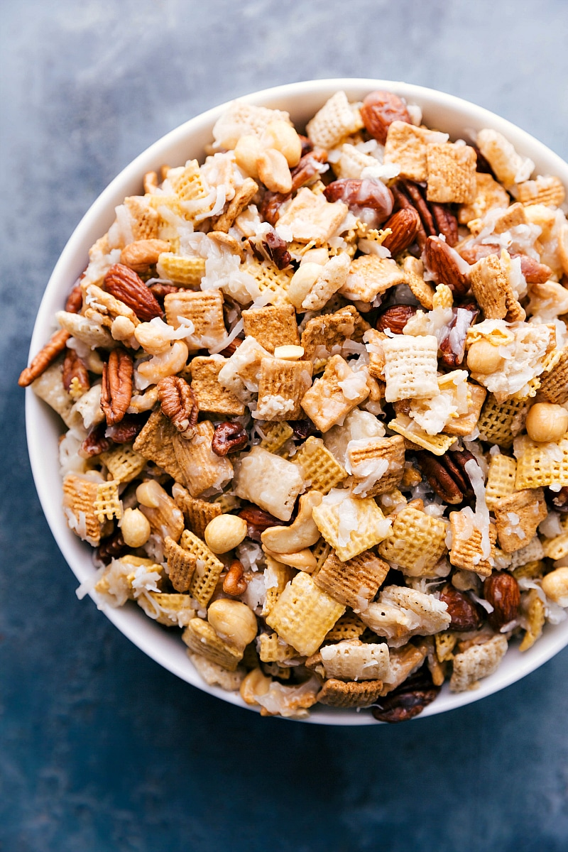 Overhead image of Sweet Chex Mix in a bowl, ready to be eaten.