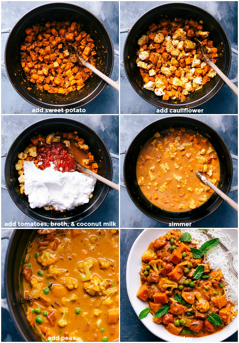 Process images for vegetable curry creation: adding vegetables, broth and coconut milk; simmer and then serve on a bed of rice.
