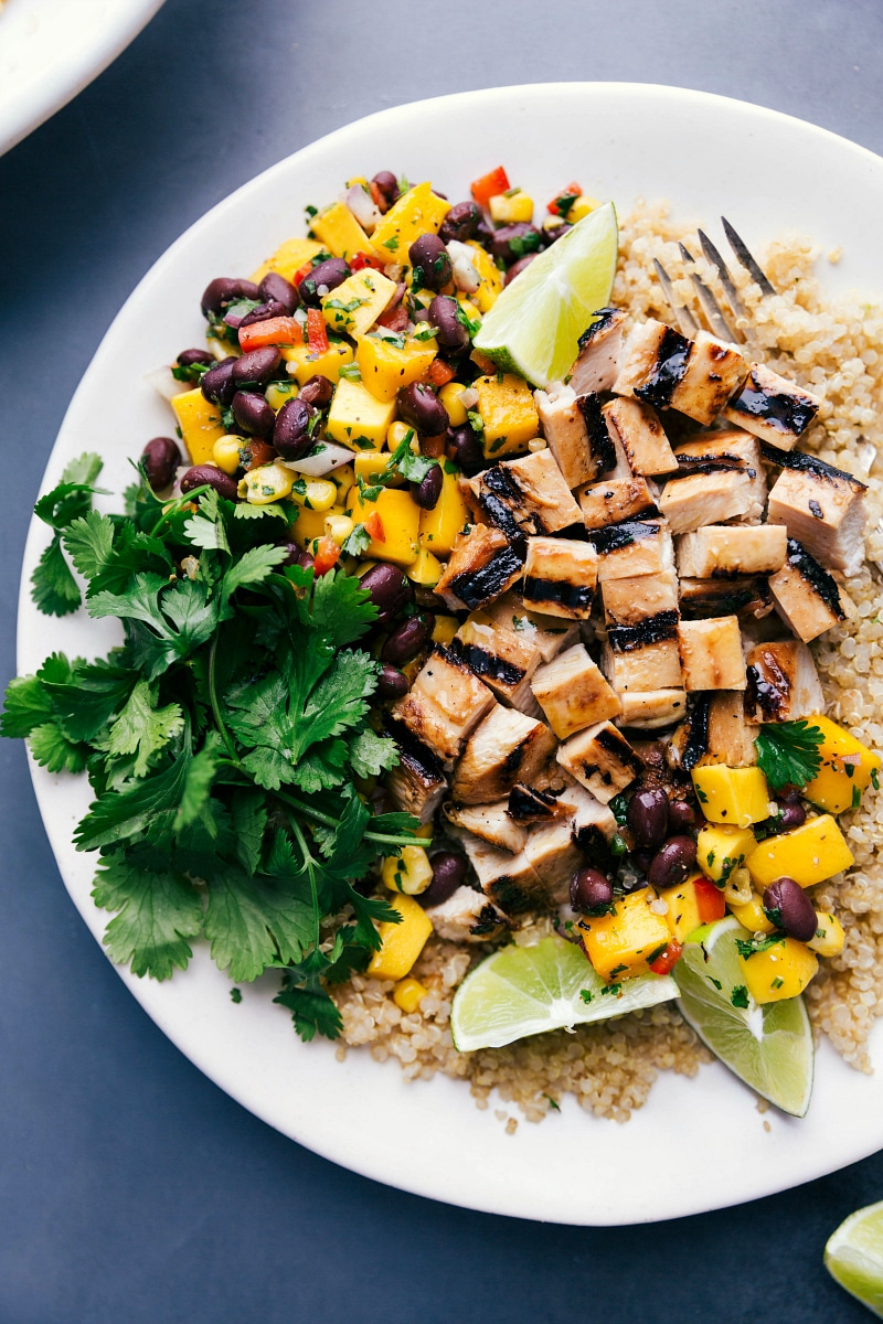 Overhead image of the chicken Quinoa dish with the grilled chicken cut and the fresh salsa and coriander on the side.