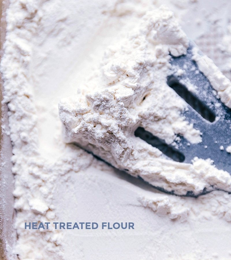 Image showing how we heat treat the flour to make this dough safe to eat without cooking