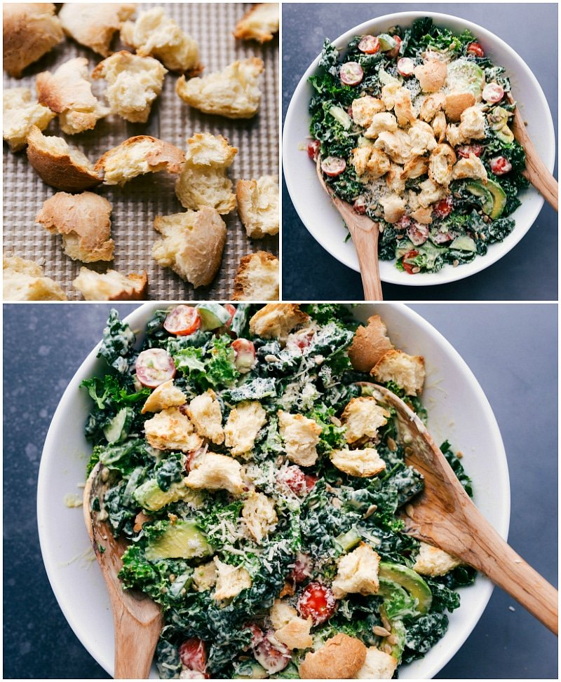 Process shots-- images of the homemade croutons being made and then added to the salad.