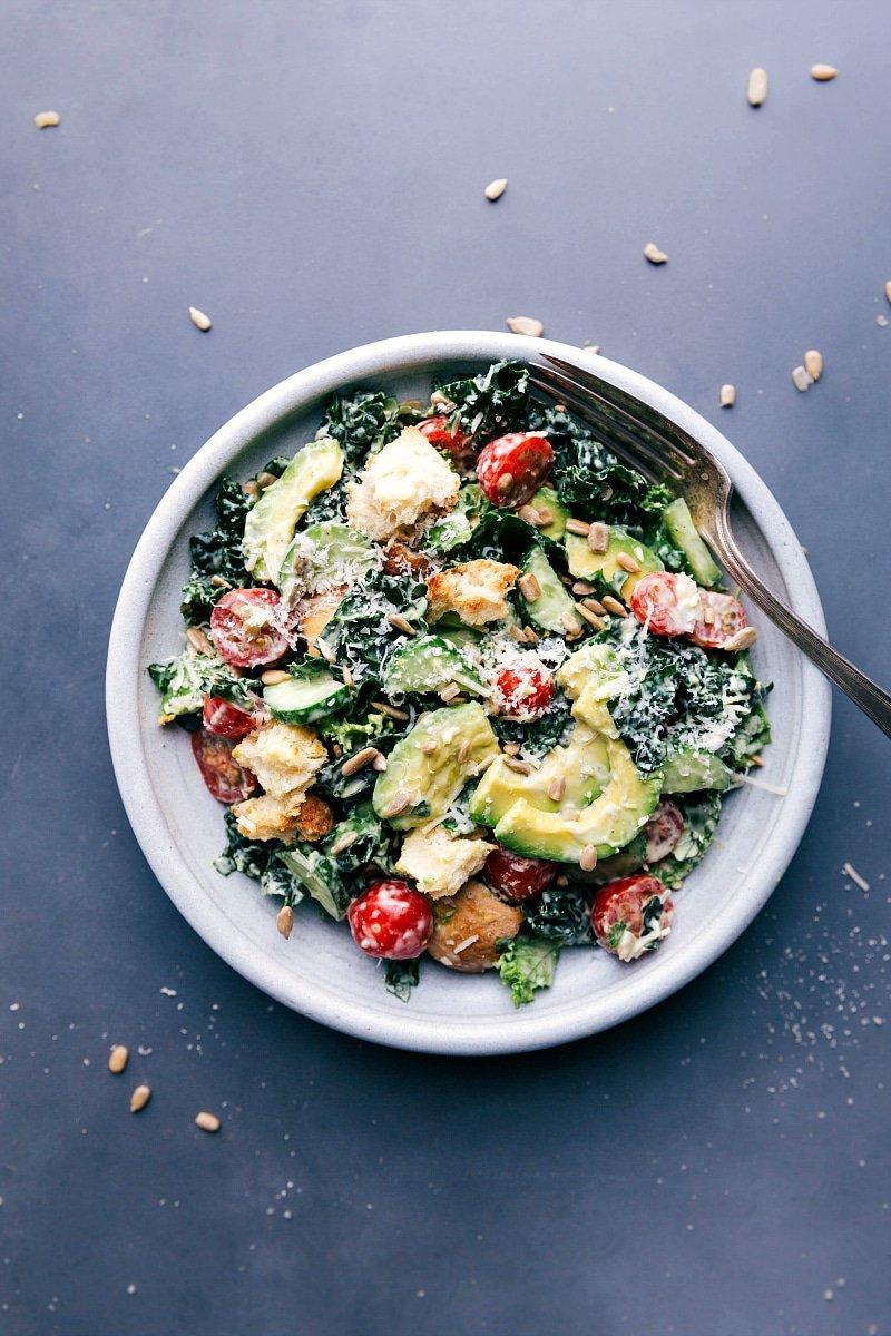 Overhead image of the dressed Kale Avocado Salad