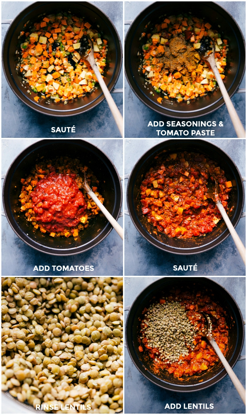 Process shots-- images of the veggies being sautéed; the seasonings being added; and then the lentils being added.