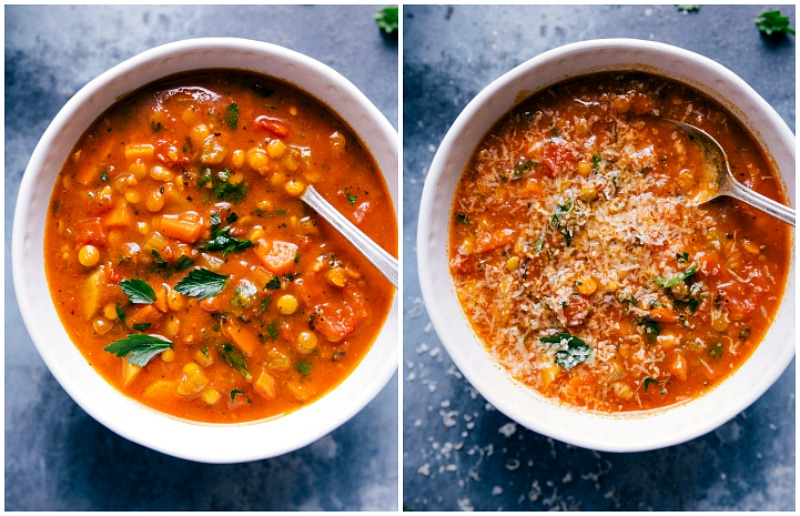 Overhead images of Lentil Soup in a bowl with fresh Parmesan cheese on top.