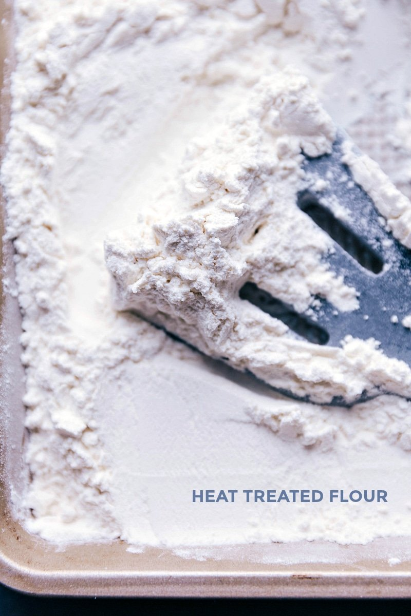 Process shot showing how to heat treat the flour to make it no bake safe