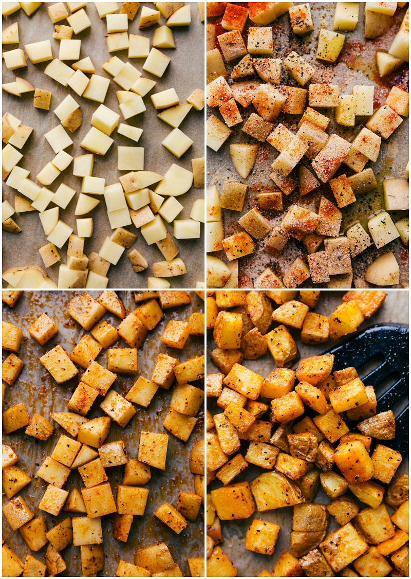 Process shots-- images of the seasonings being tossed with the potatoes and then them being roasted.