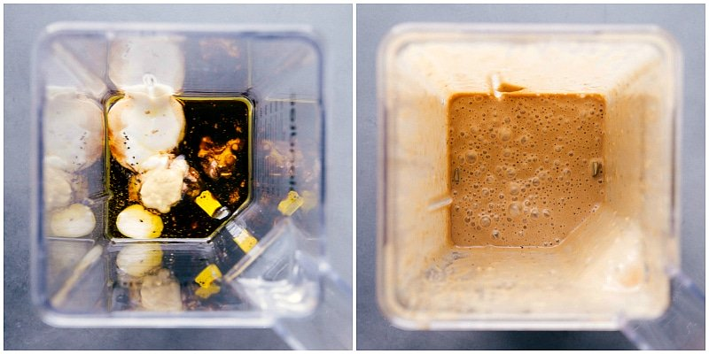 Overhead views of Creamy Balsamic Dressing before and after being whirled in the blender.