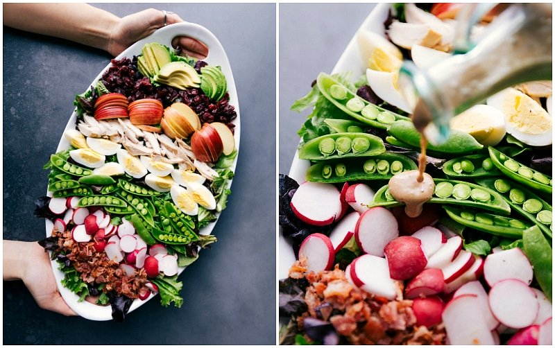 Images showing someone holding the platter of salad, and another showing the dressing being poured over the salad.