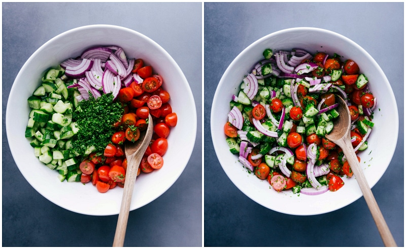 Photos of the veggie salad that goes into the Chicken Shawarma Wraps.