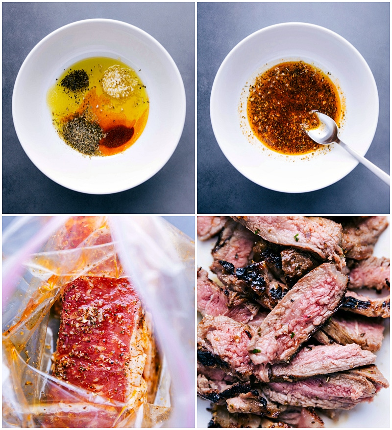 Process shots-- images of the marinade being made and the meat marinading