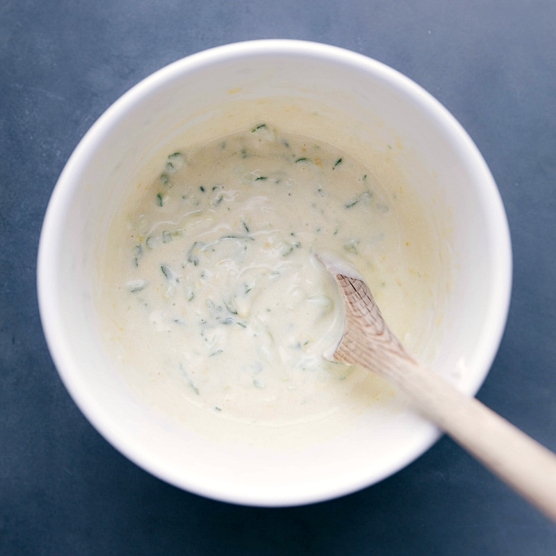 Overhead image of the tzatziki sauce in a bowl