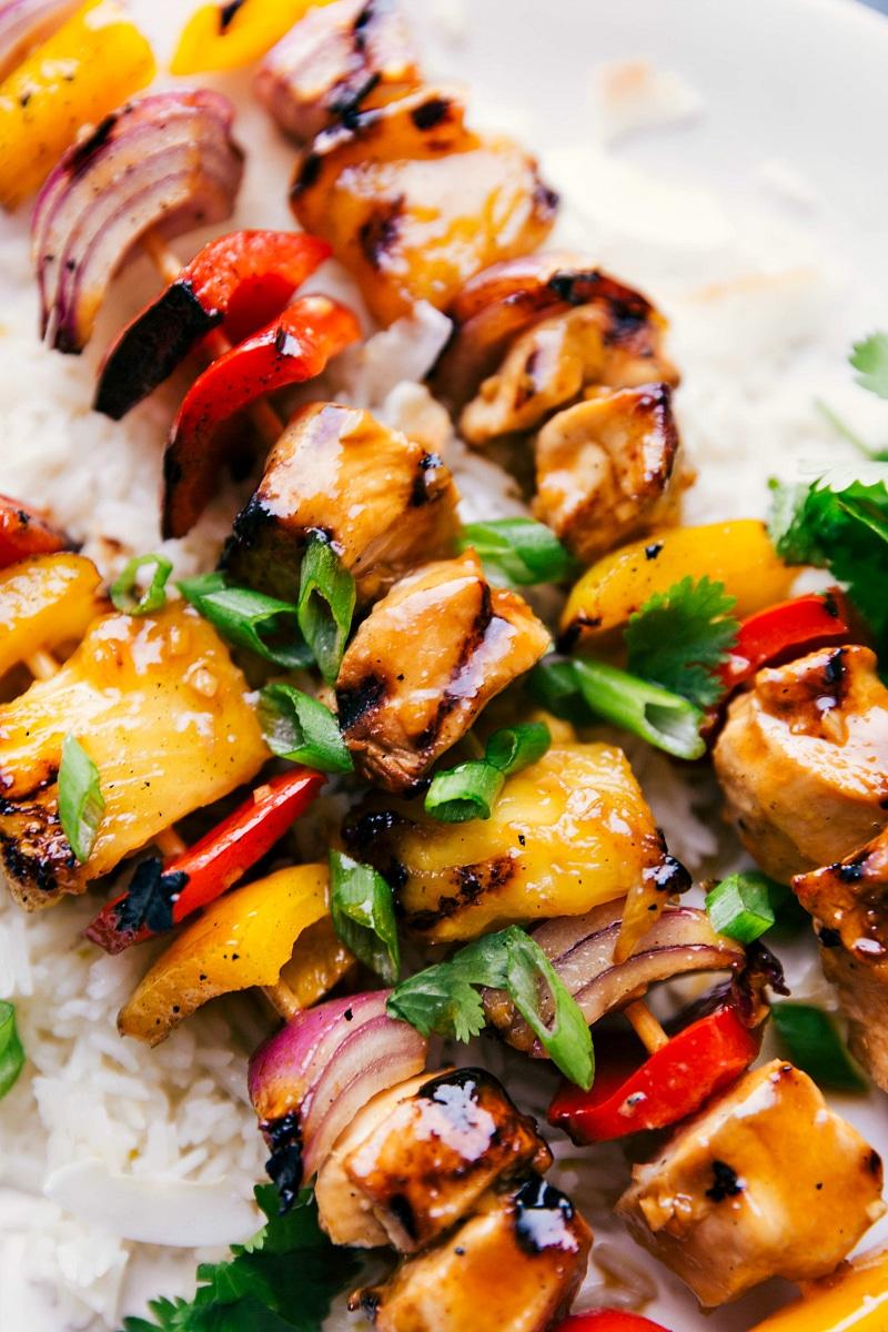 Up-close overhead image of prepared Teriyaki Chicken Skewers.