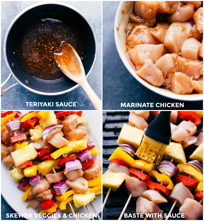 Process shots-- images of the teriyaki sauce being made; the chicken going into the marinade; the skewers being assembled; and skewers being grilled and basted.