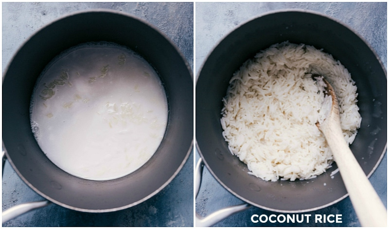 Process shots-- images of the coconut rice being made.