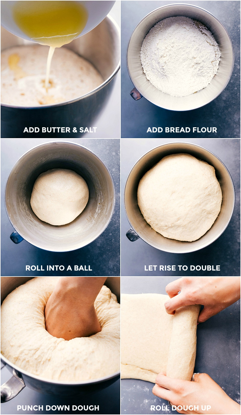 Process shots-- images of the butter, salt, and bread flour being added; the dough being rolled into a ball; the dough being left to rise; the dough being rolled out.
