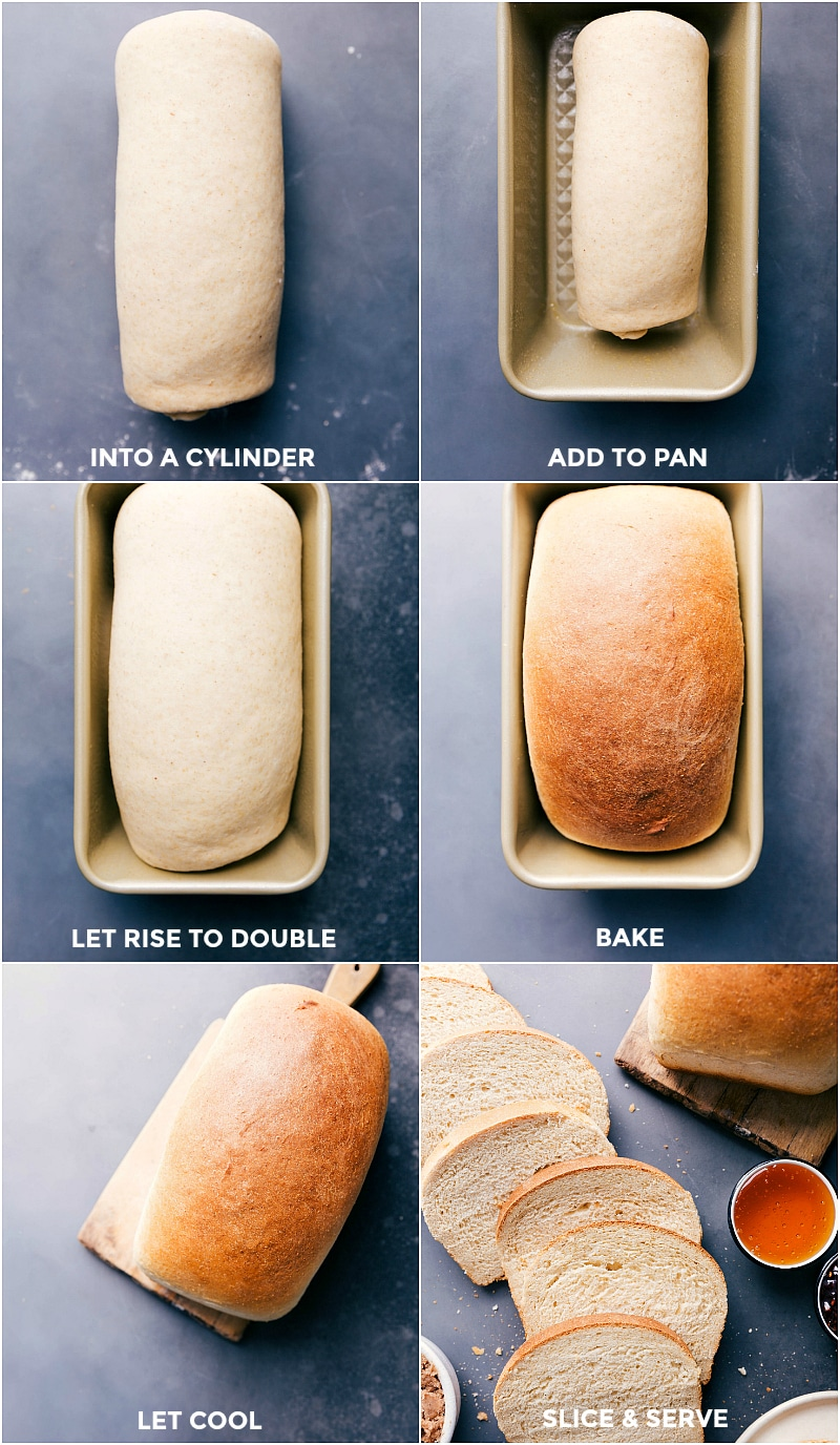Image of the dough being rolled into a cylinder; added to a prepared bread pan; left to sit and rise; baked; and sliced.