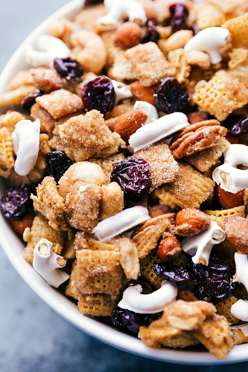 Overhead image of the snack mix in a bowl ready to be eaten