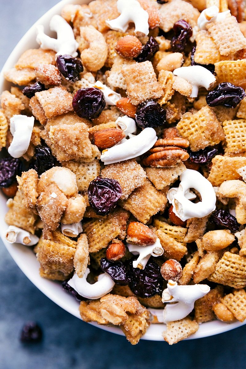 Overhead image in the dried tart cherry sweet snack mix