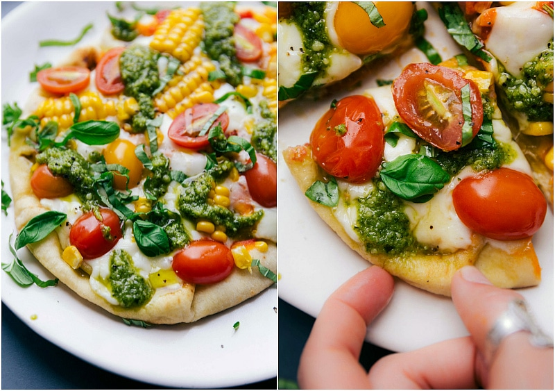 View of the finished pizza,and a picture of a hand selecting a slice of Pesto Pizza.