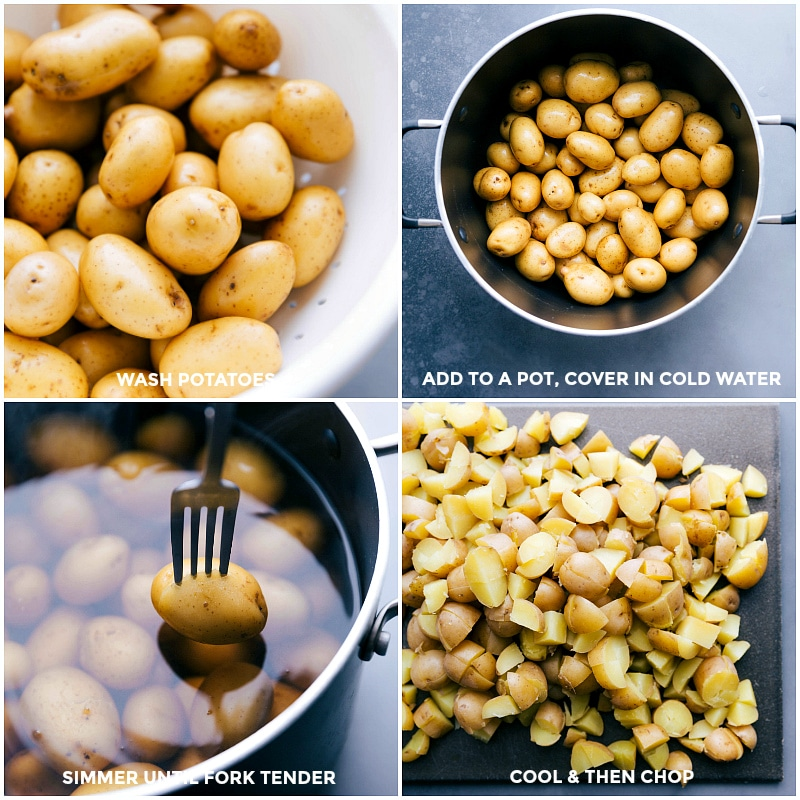 Process shots: View of washed Yukon gold potatoes; potatoes in a pot, covered with cold water; simmering the potatoes until fork tender; cooling the potatoes and then chopping them