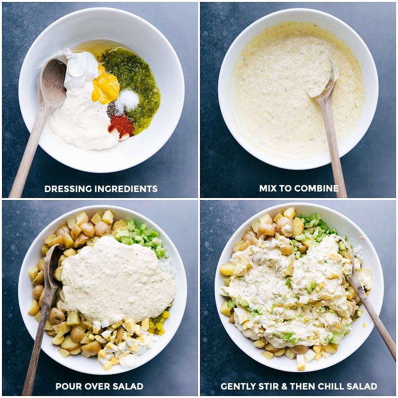 Process shots of making the dressing: ingredients in a bowl; mixing the ingredients; pouring over the ingredients; gently stirring it all together.