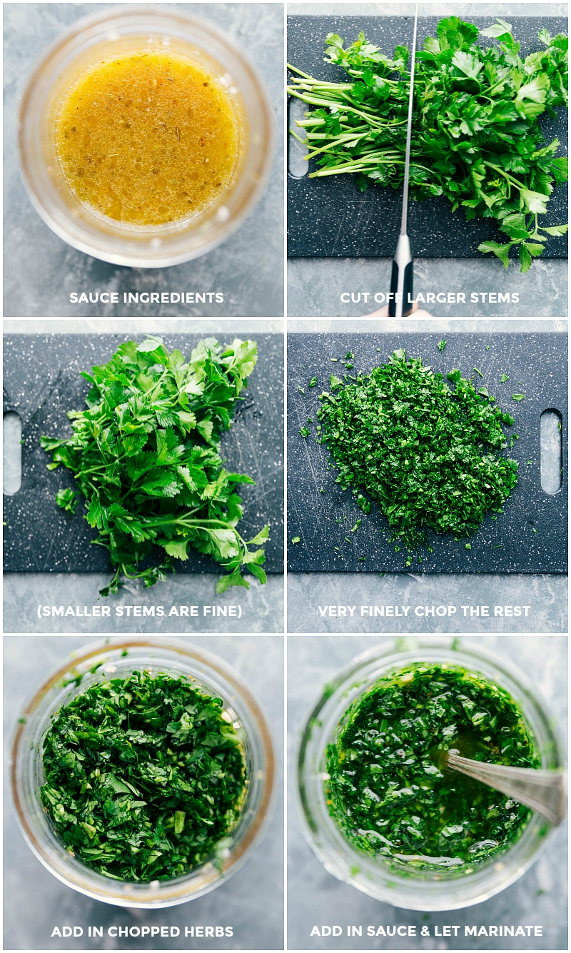Process shots-- images of the sauce being made: showing all the greens being chopped and added to a mason jar.
