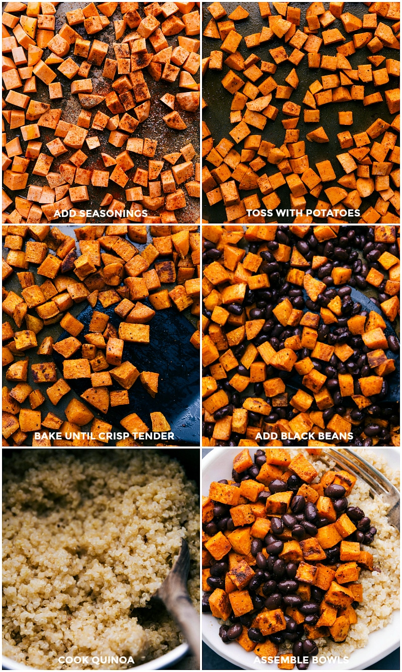 Process shots-- images of the seasonings being added to the sweet potatoes; then being roasted; black beans being added; the quinoa being cooked.