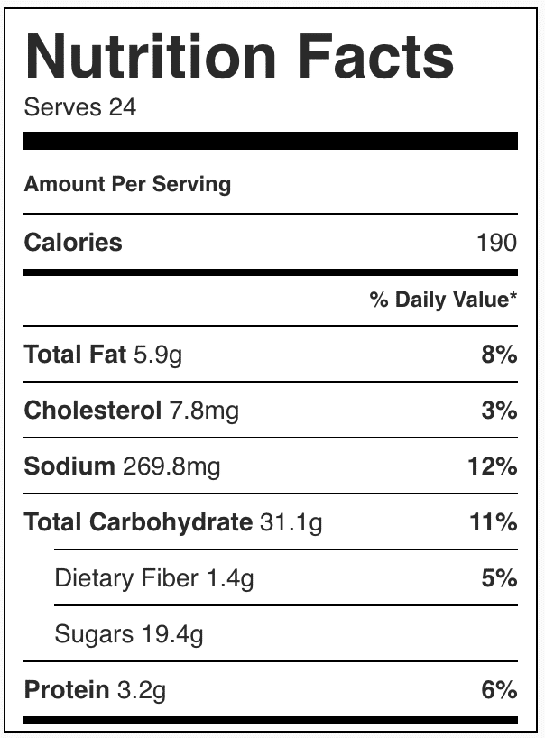 Nutrition facts in eclair cake