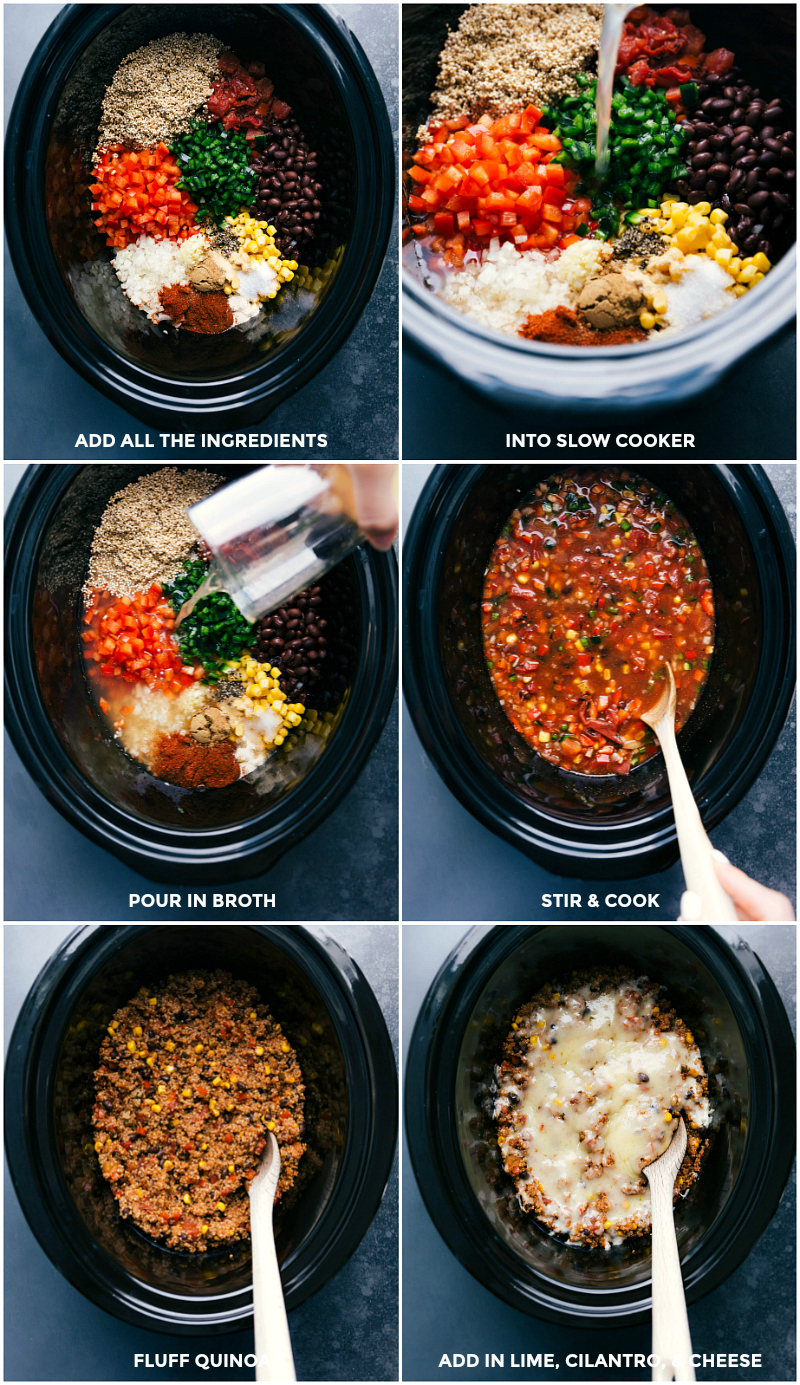 Process shots-- images of all the ingredients going into the crockpot and being cooked; adding fresh lime, cilantro, and cheese on top.