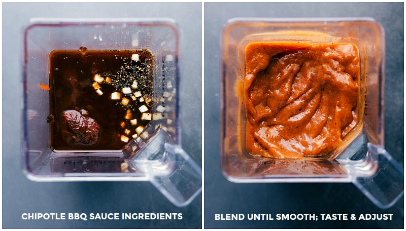 Process shot-- image of the chipotle bbq sauce ingredients being assembled in a blender; blending ingredients together to create the sauce.