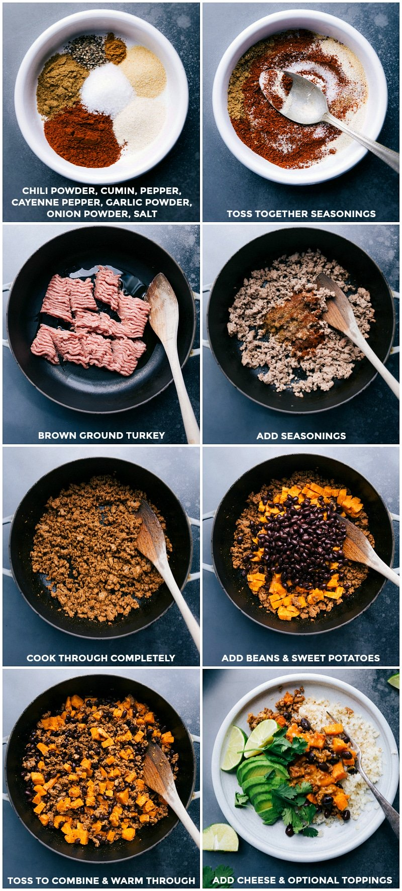 Process shots: combine the seasonings; mix seasonings together; brown the ground turkey; add in the seasonings; cook through completely; add beans and cooked sweet potatoes; combine and heat throughout; add cheese and optional toppings.