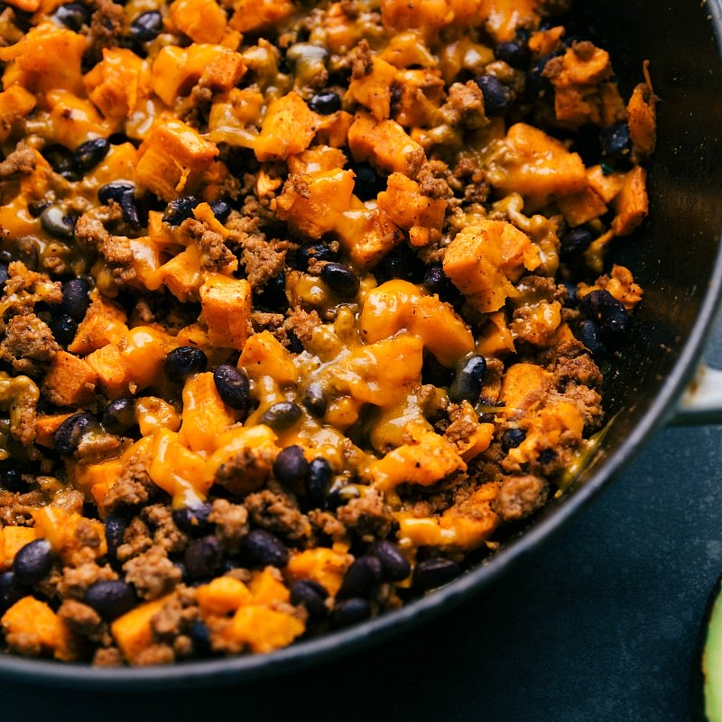Close-up image of the finished Ground Turkey Sweet Potato Skillet.