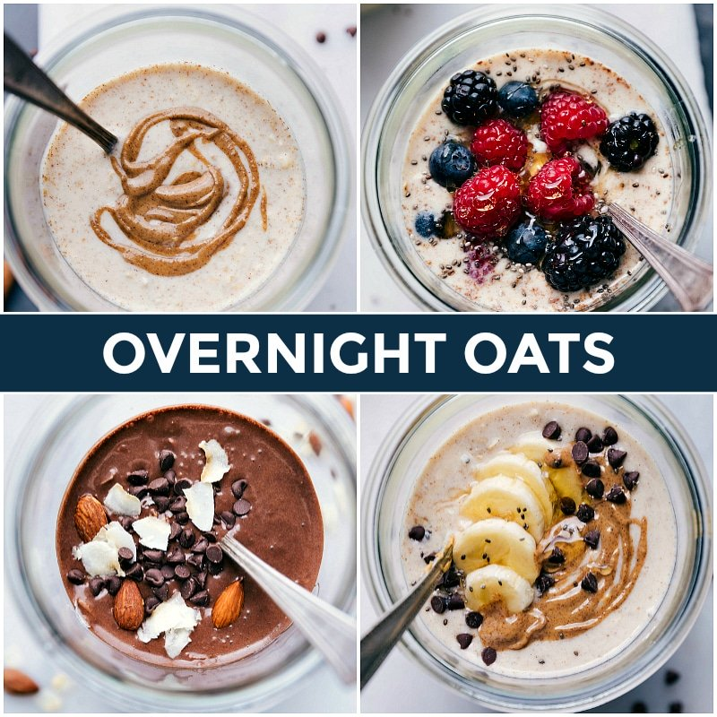 Image of all four Overnight Oats recipes featured in this post.