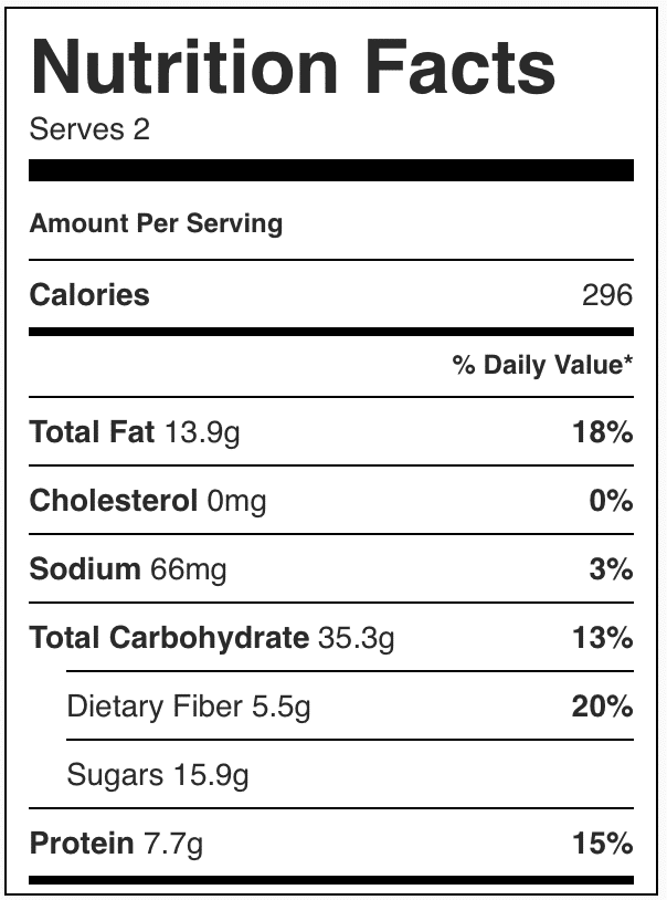 Nutrition facts in pumpkin overnight oats