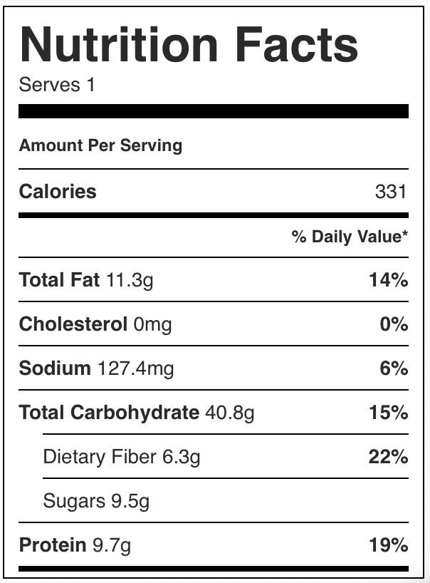 Nutrition facts in brownie batter overnight oats
