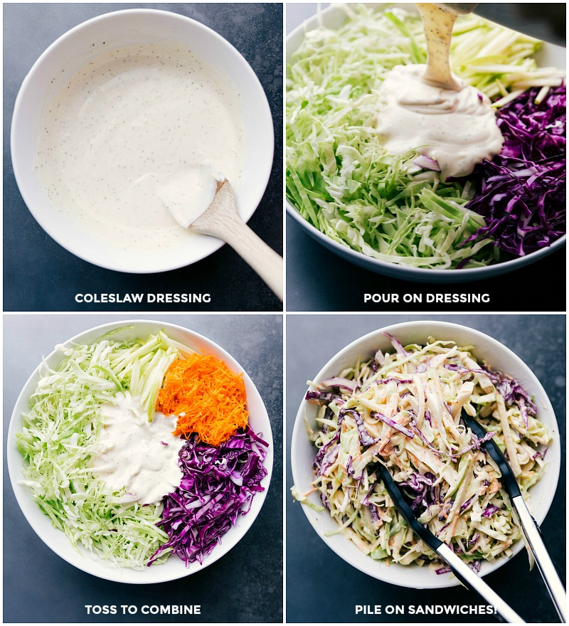 Process shots-- images of the coleslaw dressing being poured over the salad; everything being mixed together to combine.