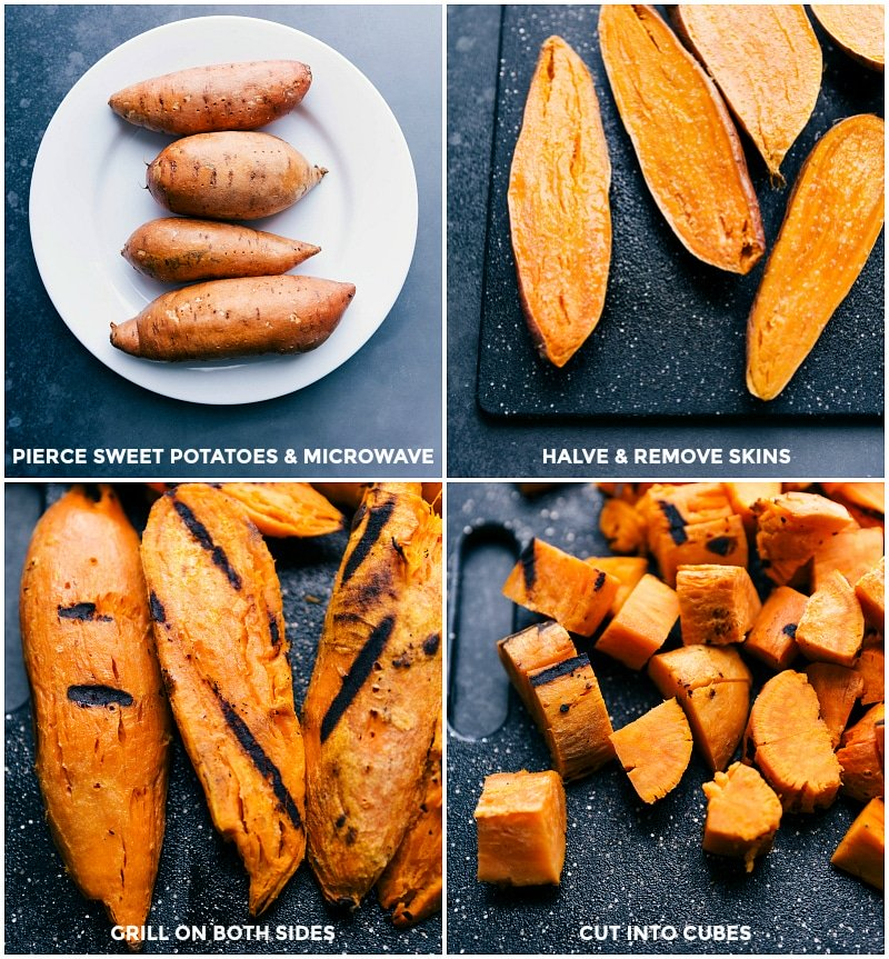 Process shots for preparing sweet potatoes: pierce and microwave the potatoes; halve and remove skins; grill on both sides; cut into cubes.