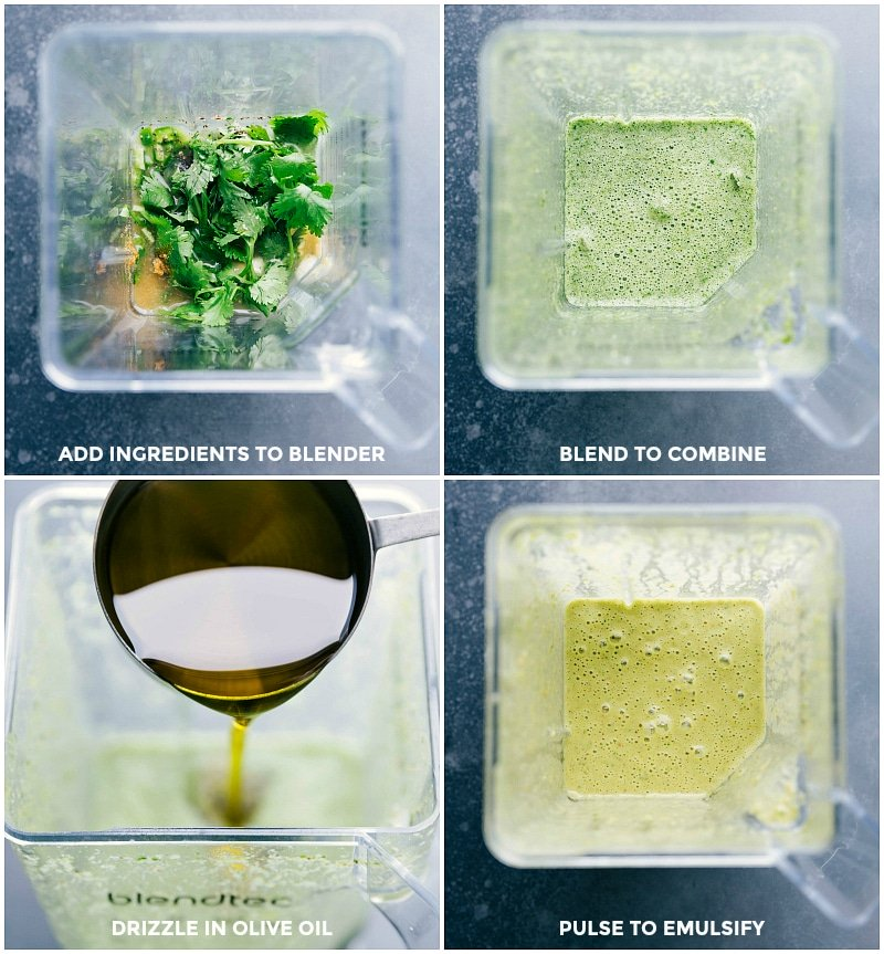 Process shots of making the cilantro-lime sauce: add ingredients to blender; blend to combine; drizzle in olive oil; pulse to emulsify.