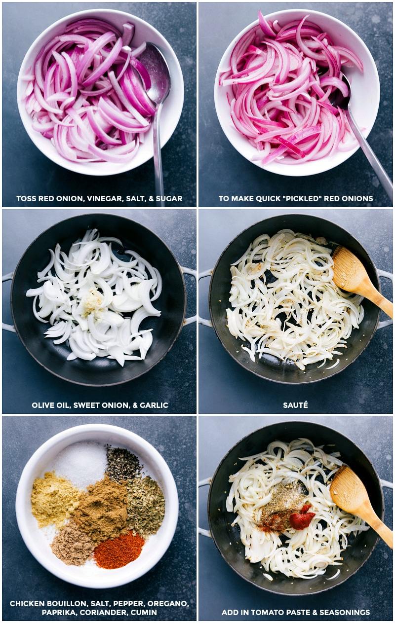 Process shots--images of the red onions being pickled; onions and garlic being sautéed; seasoning and tomato paste being added; and all mixed together.